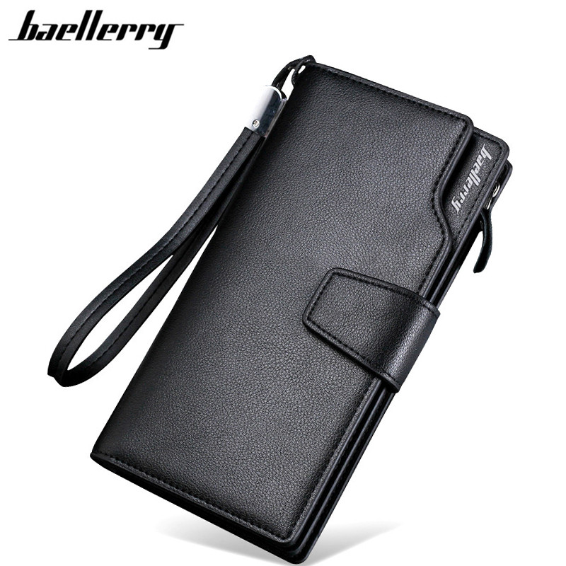 Baellerry Men Wallets 2017 New Design Men Purse Casual Wallet Clutch Bag Brand Leather Long Wallet Brand Hand Bags For Men Purse