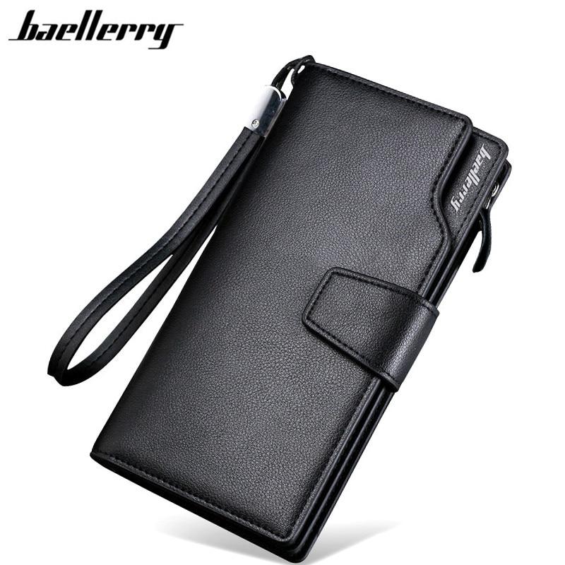 Carteras de hombre Baellerry 2017, nuevo diseño, cartera informal, bolso de mano de marca de cuero, cartera larga, bolsos de mano para hombre