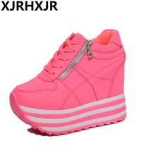 Women Casual Shoes Hidden Heels 12cm Fashion Lace Up Platforms Shoes Female Height Increasing Shoes