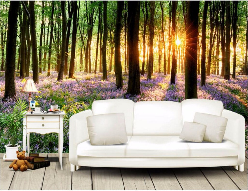 3d wallpaper custom photo Sunny woods lavender landscape room decoration painting picture 3d wall murals wallpaper for walls 3 d custom photo 3d wall murals wallpaper mountain waterfalls water decor painting picture wallpapers for walls 3 d living room