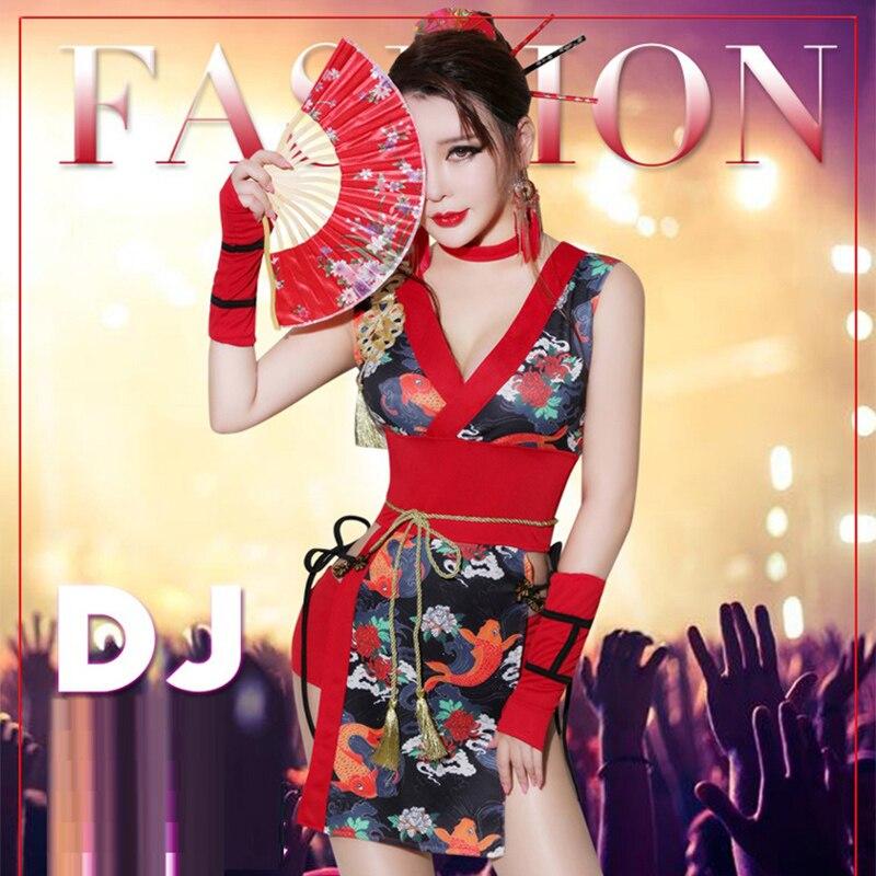 Cosplay Costumes DJ femme chanteur rétro Cheongsam Cos vêtements Bar DS Geisha Performance Sexy danse discothèque Gogo Costume, SC4