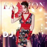 Cosplay Costumes DJ Woman Singer Retro Cheongsam Cos Clothing Bar DS Geisha Performance Sexy Dance Nightclub Gogo Costume,SC4
