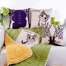1Pcs Fashion 2 in1 Multifunction Cartoon Cotton linen Folding pillow Cute Camping Pillow Cushion Nap Car Sofa Bolster Blanket