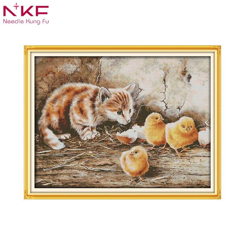 NKF le chat curieux chinois point de croix kits écologique coton estampillé imprimé bricolage nouvel an décorations pour la maison