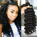 Queen Hair Products 7A  Unprocessed More Wavy Hair Peruvian Loose Deep Wave Virgin Hair Bundles Natural Black 3pcs/lot 12-28""