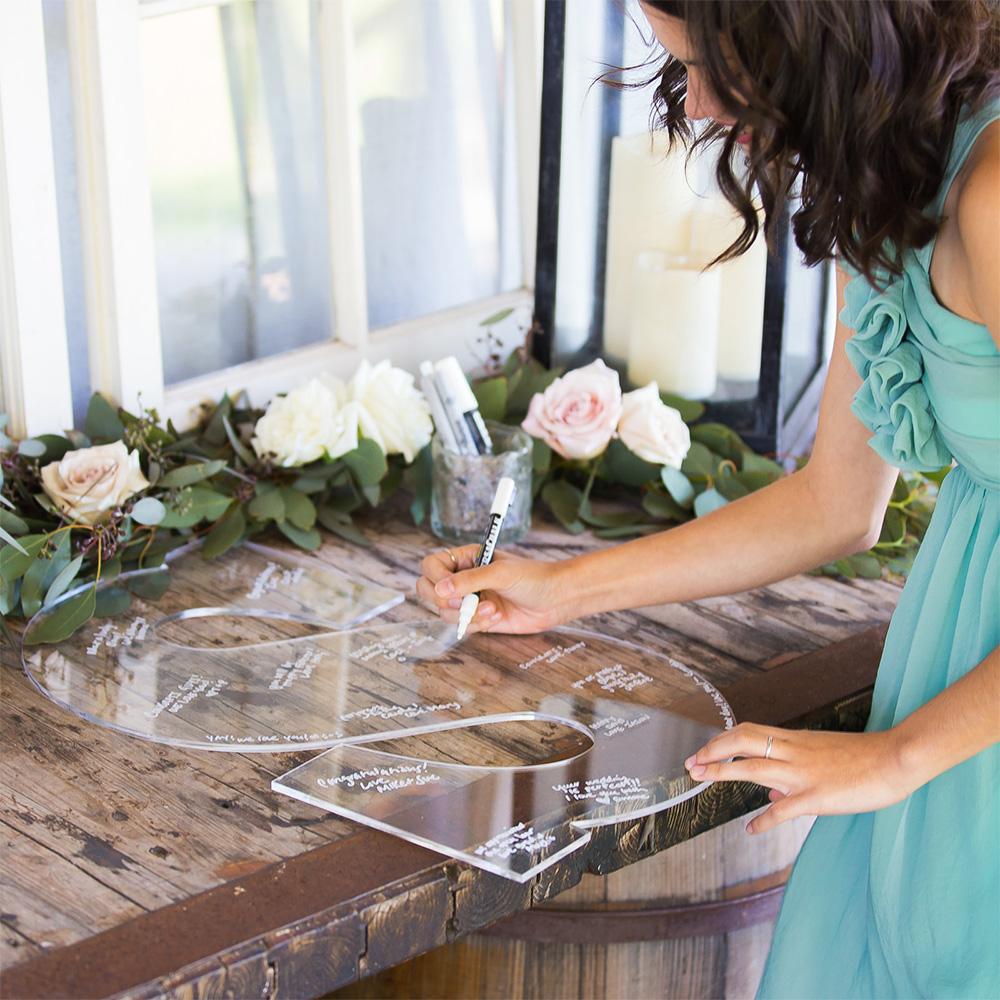 CLEAR Wedding Guest Book Monogram Letter Sign 26 Letter for Guestbook Alternative Acrylic Wedding Sign
