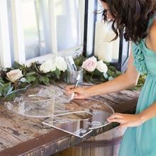Ясно, свадебные Гостевая книга монограмма Надпись Знак 26 письмо для Гостевая книга Альтернатива акрил свадебное оформление