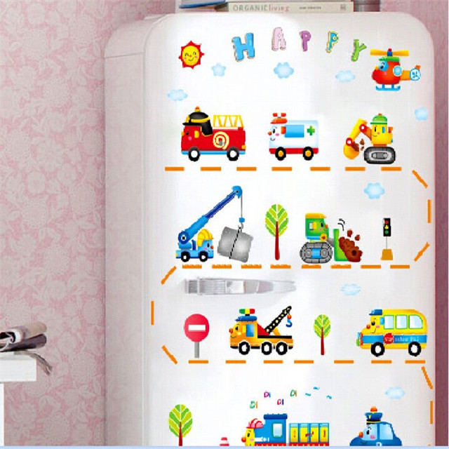 Cartoon transportation car vinyl wall stickers for kids rooms home decor living room sofa wall decals home decoration wallpaper