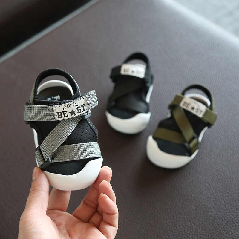 dd2627faa2d0e 2019 夏の子供サンダルクローズド足幼児の少年サンダル整形外科スポーツ pu レザー
