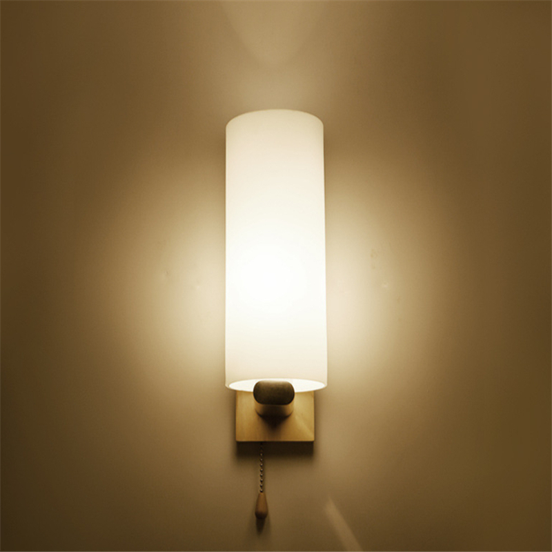 Nordic modern bedside wall lamp simple creative solid wood wall lamp LED bedroom living room hotel wall lamp WWL171