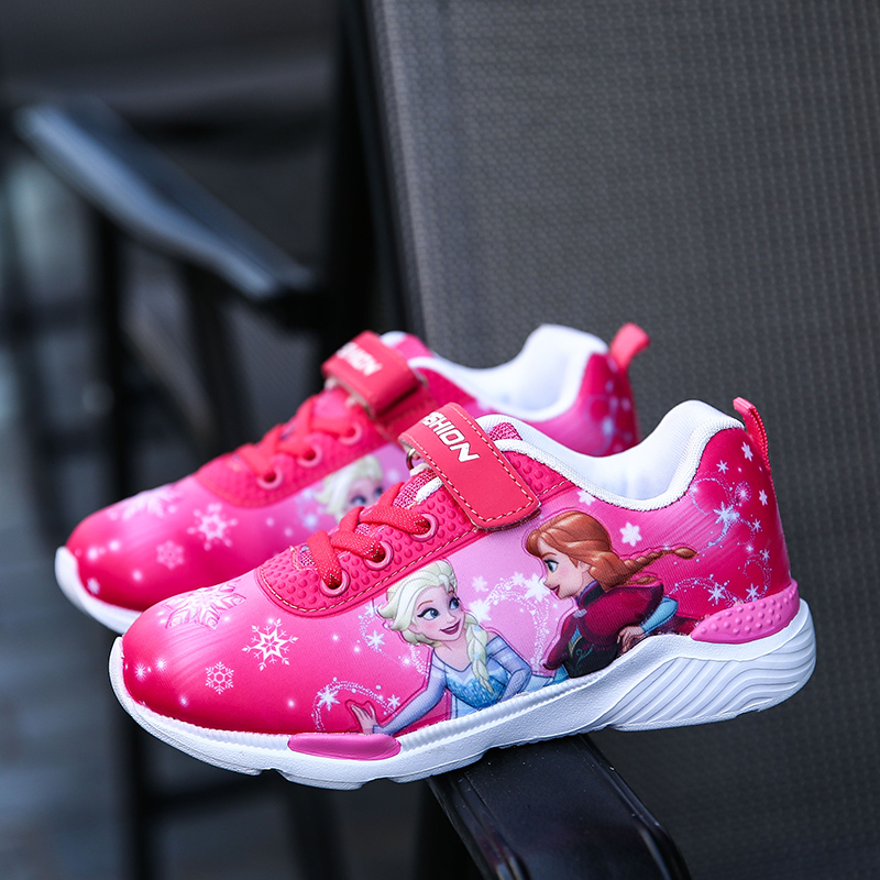 2018 Spring New Children Shoes Girls Sneakers Elsa Anna Princess Kids Shoes Fashion Casual Sport Running Leather Shoes for girls