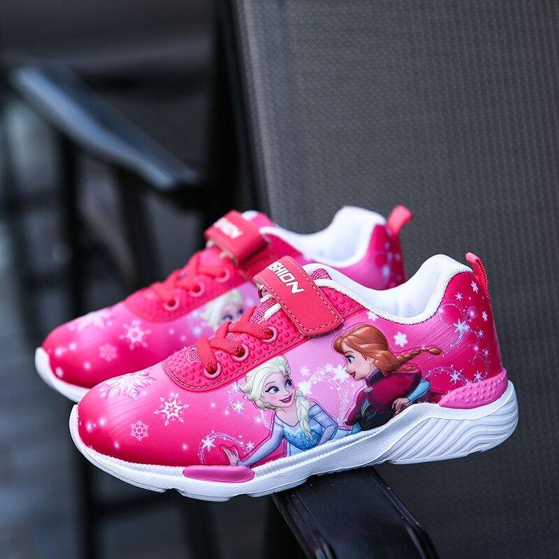 2019 primavera nuevos zapatos de los niños zapatos niñas zapatillas de deporte Elsa Anna princesa niños zapatos casuales de moda de deporte zapatos de cuero para niñas