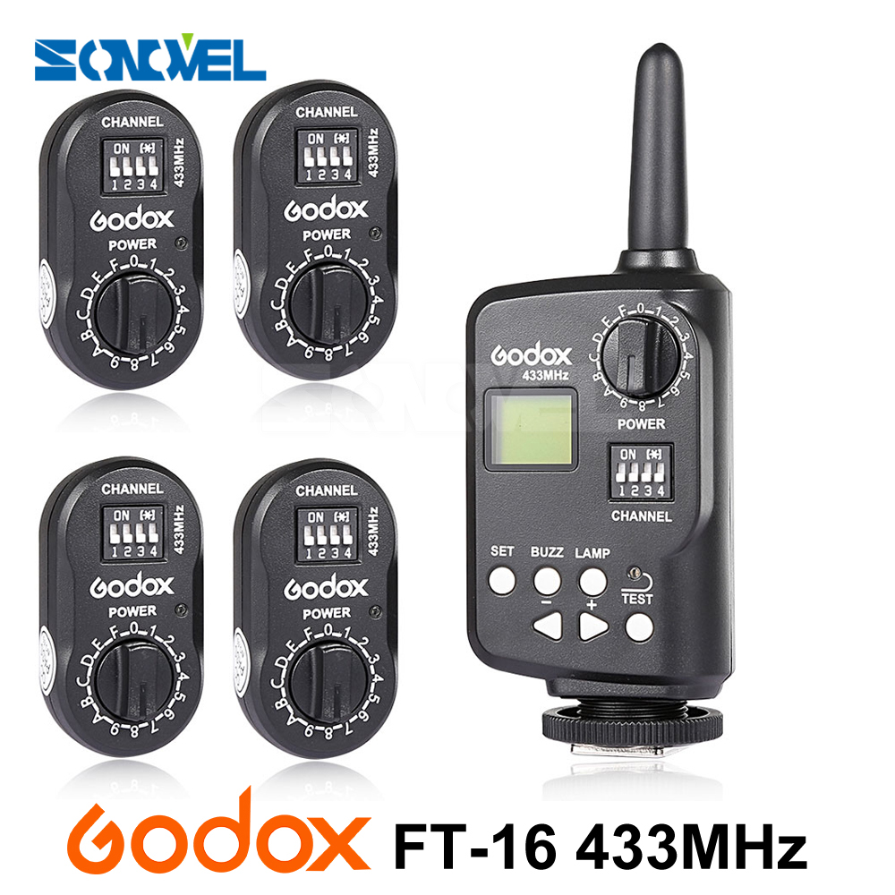 Godox FT-16 Wireless Power Controller Remote Flash Trigger FTR-16 Receiver for Canon Nikon AD180 AD360 AD360II SK300 QT QS Flash 4 in 1 4 channel 433mhz wireless remote flash trigger set for canon nikon pentax camera