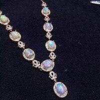 Натуральный опал Цепочки и ожерелья Природный камень кулон Цепочки и ожерелья S925 серебристые женские роскошные модные большой Корона женщ