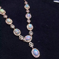 Natural opal Necklace Natural gemstone Pendant Necklace S925 sliver women Luxury trendy big Crown women party fine Jewelry
