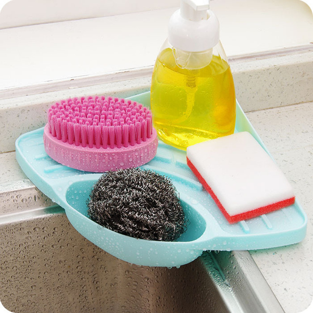 Hot Kitchen Sink Corner Sponge Holder Storage Rack Draining Soap Dish For Bathroom Organizer Er