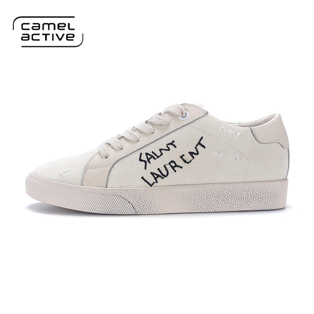 Camel Active Brand Designer Casual Vintage Shoes Women White Spring Autumn  Breathable Canvas Leisure Shoes Uomo