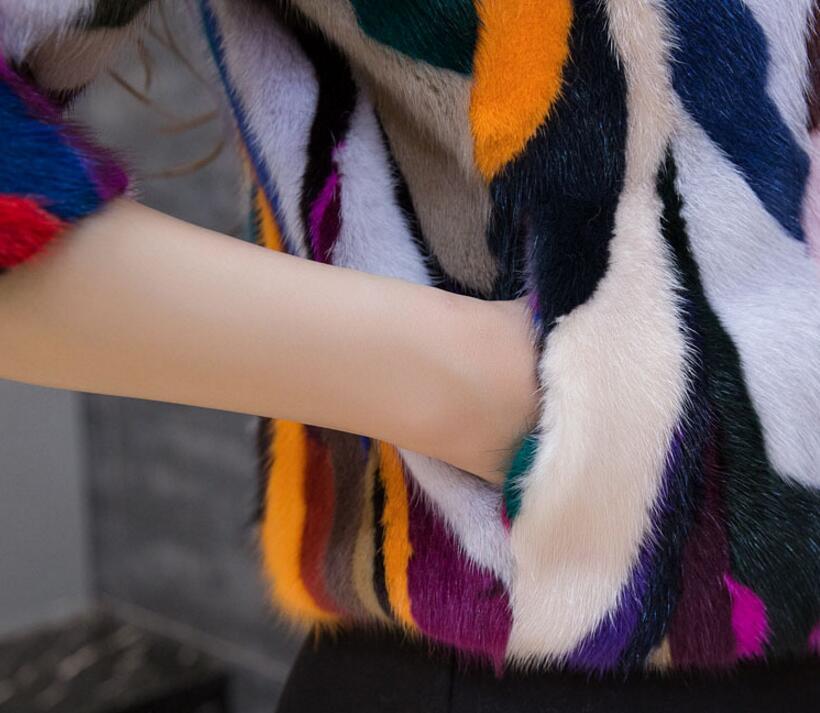 Veste Personnaliser Vison Court Tsr244 Plus Gros black Haute Mix Manteau De En Fourrure Colors Couleurs Patchwork Véritable Qualité Naturel Grande Taille nY7Sqx4P