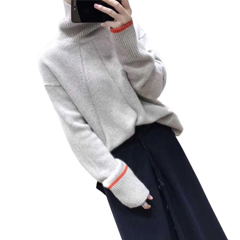 Beliarst 2019 새로운 가을, 겨울 순수 캐시미어 스웨터 여성 따뜻한 느슨한 짧은 높은 칼라 풀오버 울 스웨터 대형
