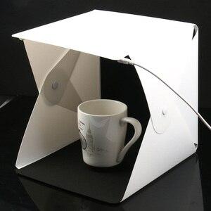 Image 1 - Mini Pieghevole Lightbox Fotografia Photo Studio Softbox 2 Pannello HA CONDOTTO LA Luce Soft Box Photo Sfondo Kit scatola di Luce per DSLR macchina fotografica