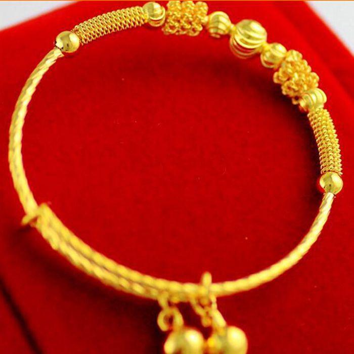 LADIES 18ct YELLOW MULTI GOLD BONDED CZ BANGLE
