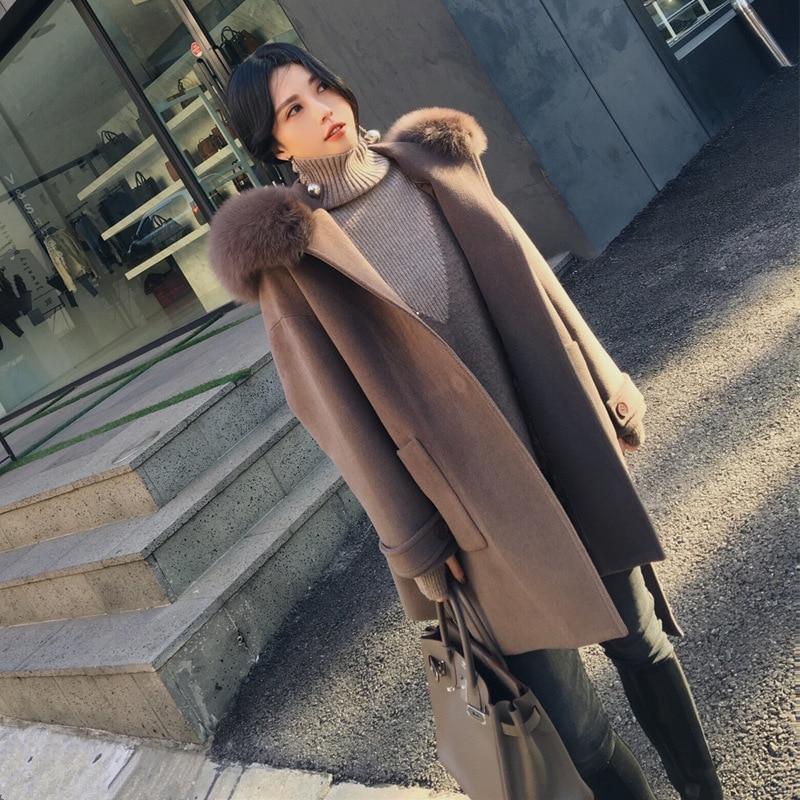Menbone 2018 Laine Mélanges Manteau Femmes Mode Ceinture Bouton À Manches Longues Élégant Manteau D'hiver Chaud À Capuchon Lâche De Fourrure Outwear Dames