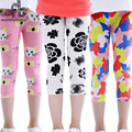 Retail 2-7years 8 patterns gauze footless girls Capri trouser kid pants clothing kids leggings children's summer cool