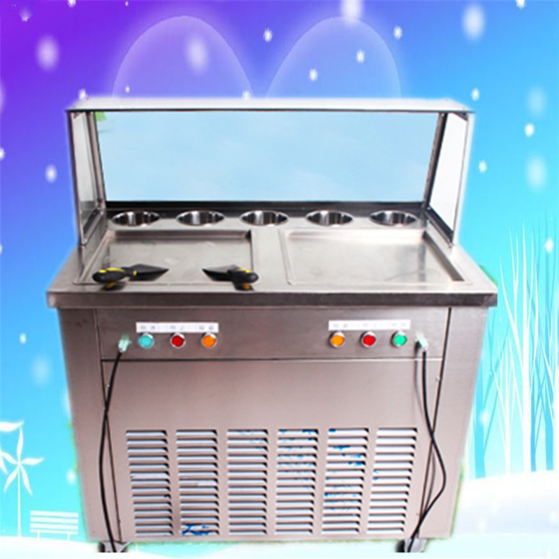 free shipping 2 flat  pan and 5 buckets  fried ice cream roll machine , fried ice  roll pan machine , Fried ice cream machine 220v 110v ce flat pan fried ice cream roll machine fried ice machine stainless steel freezing ice cream machine with glass cover