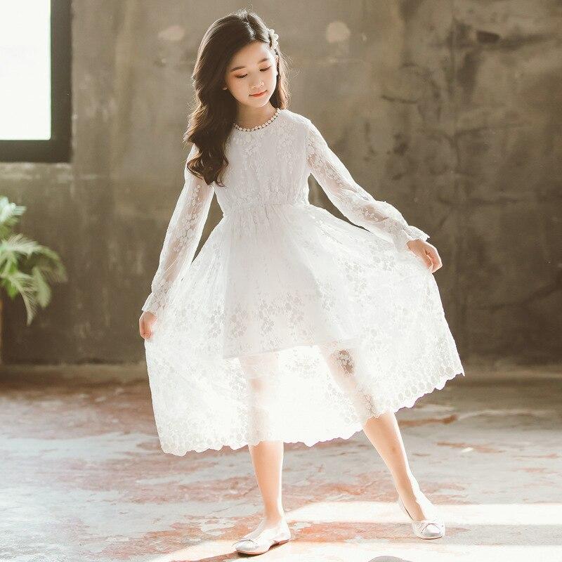 Image 4 - 2019 New Children White Lace Dress Baby Princess Dress Summer Girls Dress Kids Maxi Dress Toddler Floral Clothes Beautiful,#5132Dresses   -