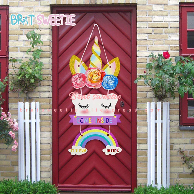 Unicorn Party Unicornio 1st Baby Shower Happy Kids Girls Birthday Theme Decoration Favors Room Door Sign Hanger Banner