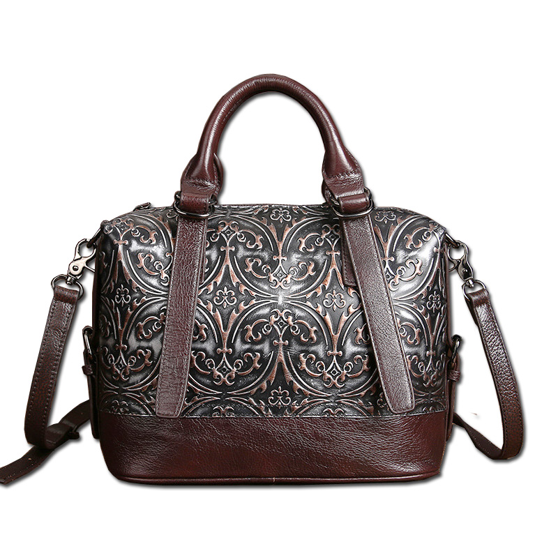 Classic Vintage Engraved Flower Genuine Leather Casual Bag Women's Handbag Messenger Bags Ladies Crossbody Shoulder Bag Zipper