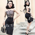 FREE SHIPPING Le Palais Vintage 2016 Summer New Elegant Sexy Lace Stitching Black Sleeveless Slim Dress Women Clothing Vestidos