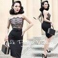 FRETE GRÁTIS Le Palais Vindima 2016 Verão New Elegante Sexy Lace Costura vestido Preto Sem Mangas Magro Vestido Vestidos Das Mulheres de Roupas