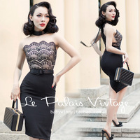 FREE SHIPPING Le Palais Vintage 2016 Summer New Elegant Sexy Lace Stitching Black Sleeveless Slim Dress