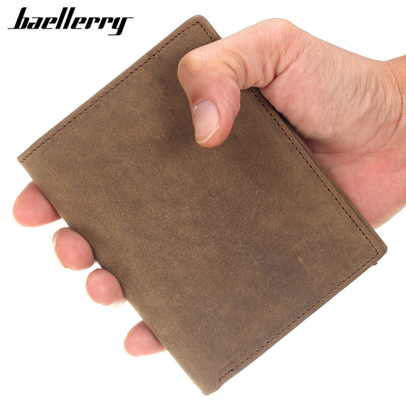HOT Sale Vertical Vintage Men Wallets High Grade Crazy Horse Genuine Leather Male Wallet Card Holder Bifold Short Wallet Purse crazy horse leather billfolds wallet card holder leather card case for men 8056r 1
