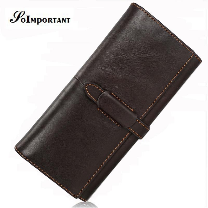 Vintage Wallet Purse Genuine Leather Men Wallets Portomone Long Mens Wallets Clutch Male Walet Hasp Coin Purse Perse For Men
