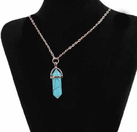 טבעי אבן משושה עמודת קריסטל 16 ''שרשרת משושה שש פינת מראה טבעי אבן קריסטל שרשרת תליון שרשרת