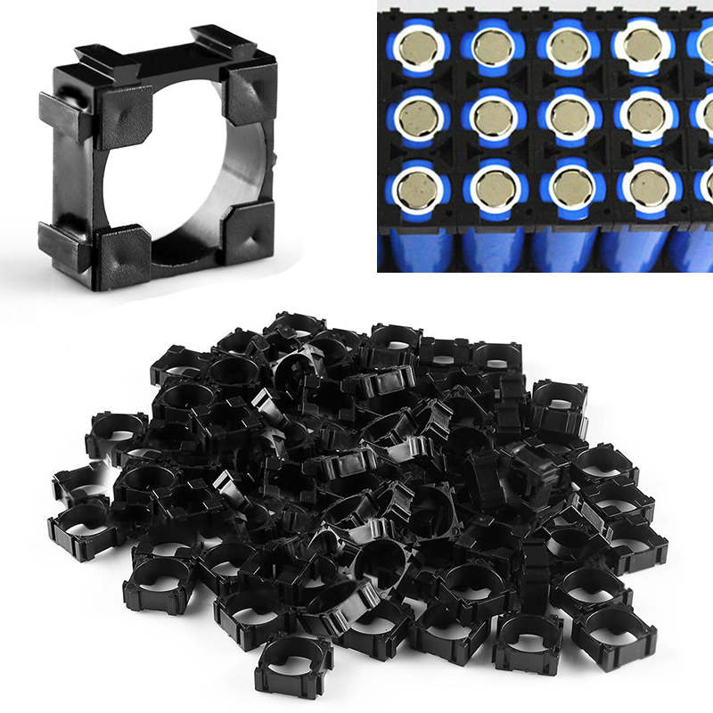 100pcs 22 x 22mm 18650 Battery Cell Holder High Protective Safety Battery Spacer Radiating Shell Storage Bracket Mayitr