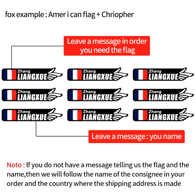 new style Custom unique name national flag stickers for road  bike frame flag personal name bicycle decals STYLE.3