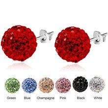 RE Sterling 925 6MM 8MM Trendy Brand Stud Earrings Disco Pave Ball Crystal For Women Wholesale Fashion Jewelry J35