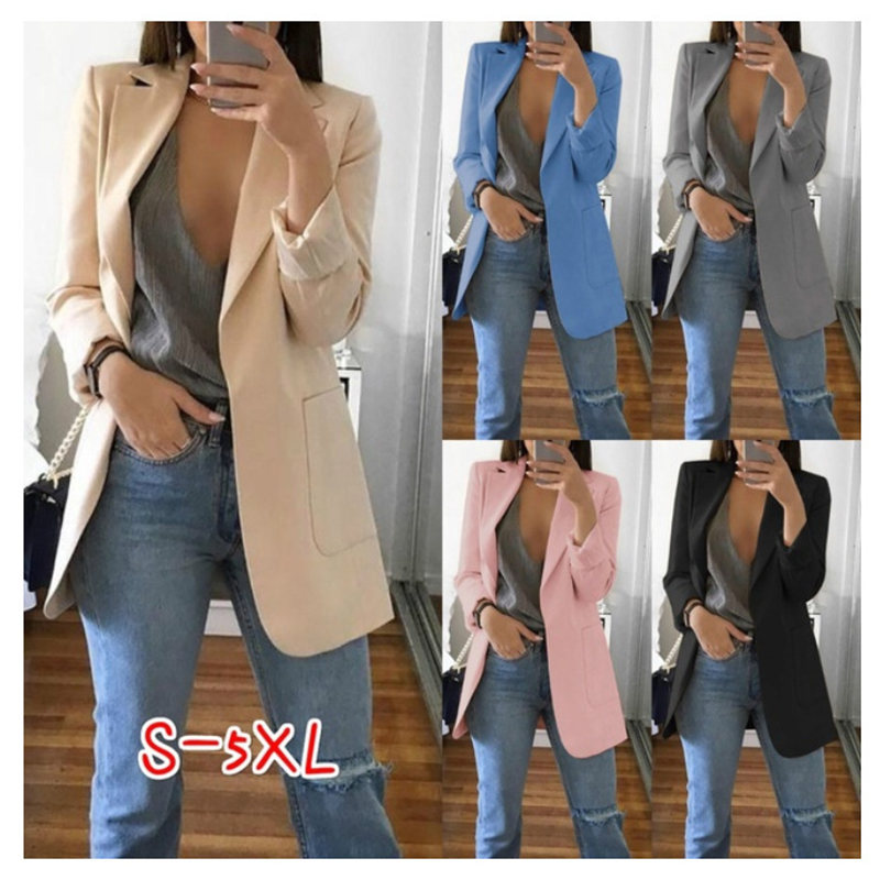 OL Commuter Solid Color Lapel Suit Collar Long-Sleeved Cardigan Loose Long Women's Blazer Free Shipping