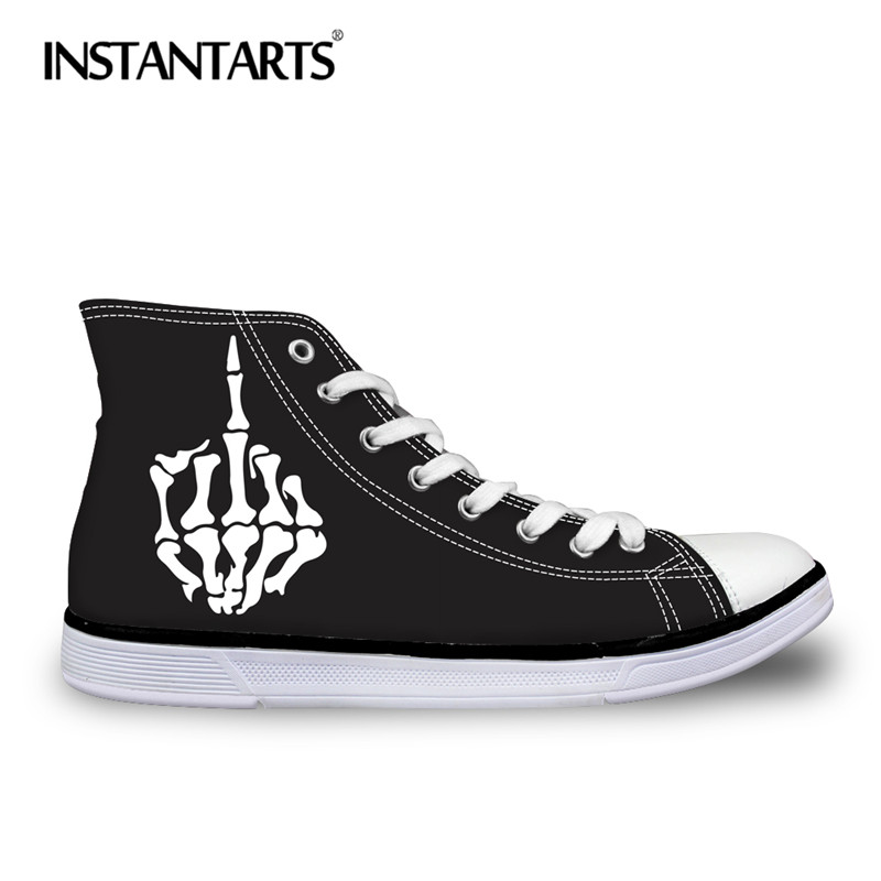 INSTANTARTS 3D Print Men's Vulcanize Shoes Male Lace Up High Top Canvas Shoes Skull Finger Teenager Boy Cool Classic Sneakers