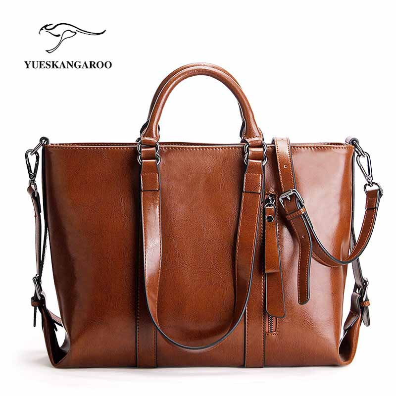 YUESKANGAEROO 100% LUXURY Genuine Leather Women Shoulder Bag Brand Designer Cowhide genuine leather handbags Skin Crossbody bag new american luxury style 100% oil genuine leather women composite shoulder bag brand designer cowhide handbags tote li 1358