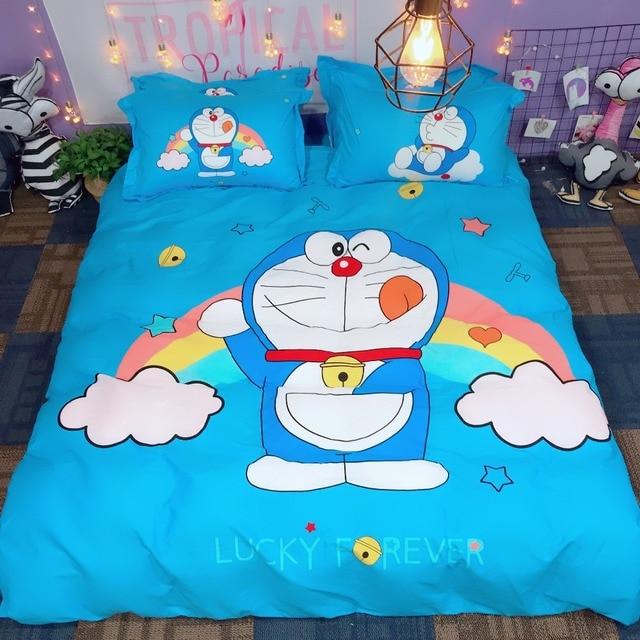Cartoon Doraemon Pink Blue Bedding Sets Cute Cotton Good Quality Luxury Duvet Cover S Twin Queen King Bed Set Bedclothe