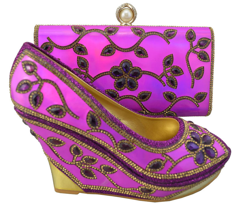 Fuchsia Color Italian Las Shoe And Bag Set Decorated With Rhinestone Nigerian Women Wedding Shoes Italy In S Pumps From