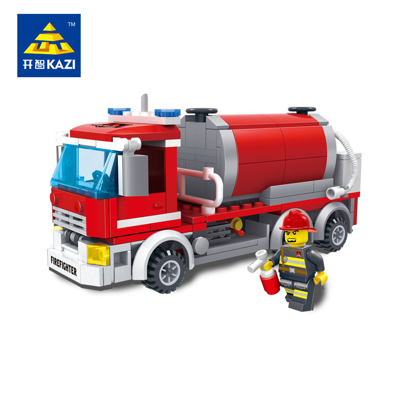 KAZI 273pcs City Fire Car Tanker Building Blocks Sets Plastic DIY Educational Kids Bricks Toys Best Kids Gifts Toys for Children superwit 72pcs big size city diy creative building blocks brick compatible with duplo sets lepin educational toys children gifts