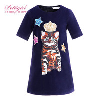 Pettigirl Autumn Black Girl Tank Dress With Crown Stat Cat Patter Causal Kids Dresses Children Wear G-DMGD908-837