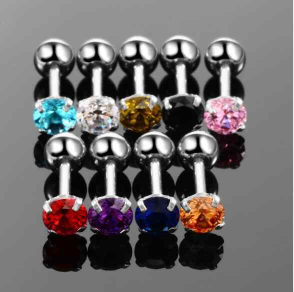 Medical titanium steel zircon earrings Size 4mm Round Colorful Crystal Cartilage Earring ear Piercing DIY Top Body Jewelry Women
