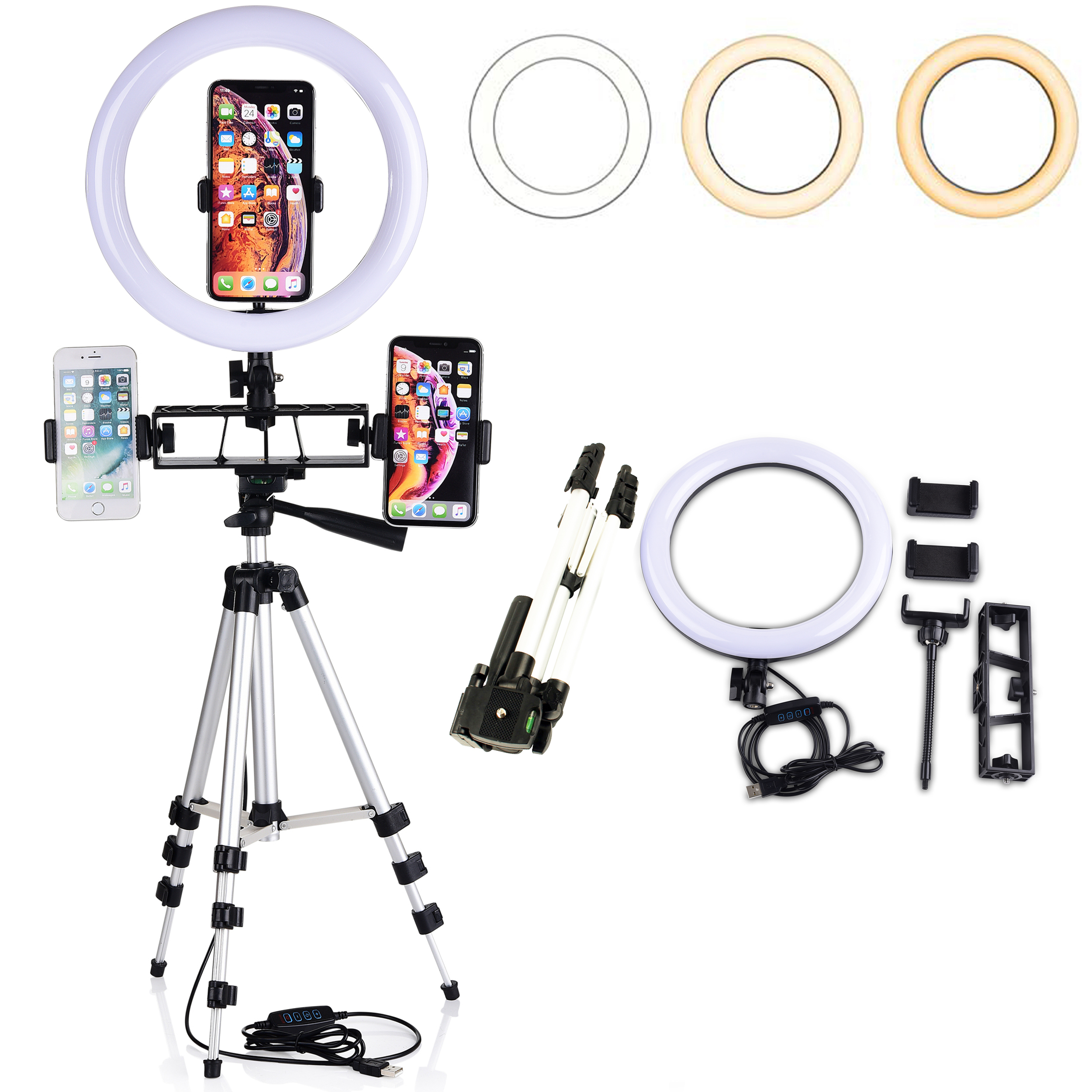 Selfie Light Ring 6.3-inch with Stand /& Phone Holder,3 Light Settings Dimmable Desk LED Camera Lights for Video,Makeup,YouTube,Live Streaming