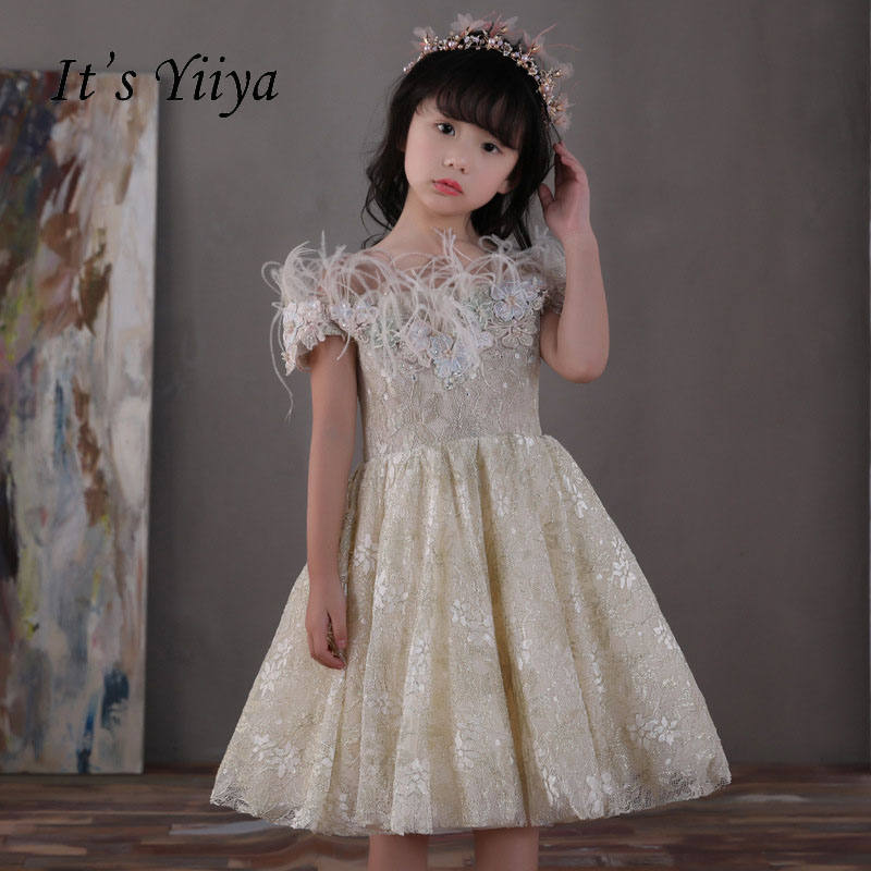 It's yiiya Zipper Princess Off Sleeveless Lace Bow Kid Flower Child Cloth Flower Girl Dress For Party Wedding Girl Dresses S174